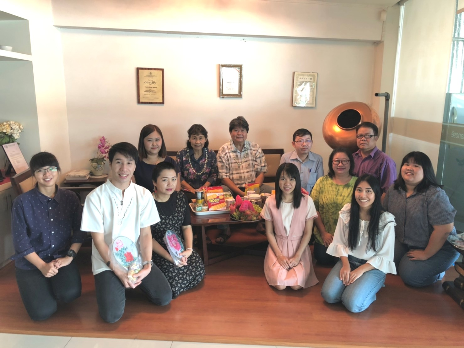 Researchers, staffs, and the former Ph.D.student have paid respect to the board of Manose Health and Beauty Research Center on the occasion of Thai New Year (Songkran Festival)